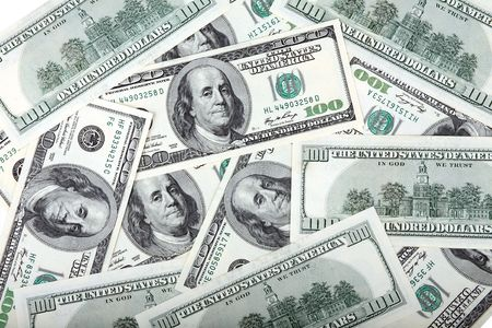 american dollars banknote of hundreds photo