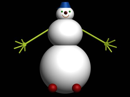 3D snowman on black background photo