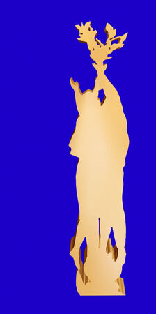 tridimensional: gold silhouette of dove of peace , men and women on blue background Illustration