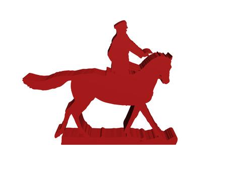 horseman: silueta del jinete militar sobre fondo blanco, aislados 3D