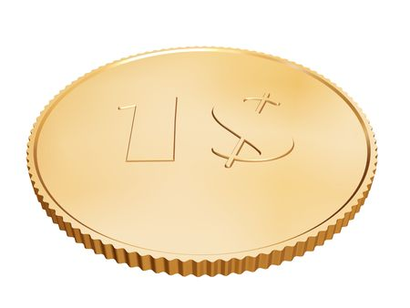 gold 1$ coin on white background photo