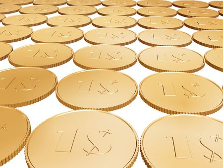 gold 1$ coin carpet on white background photo