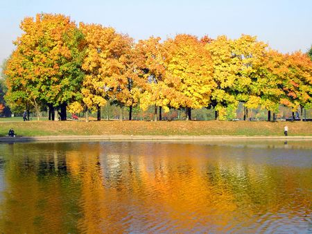 autumn in city park at october photo