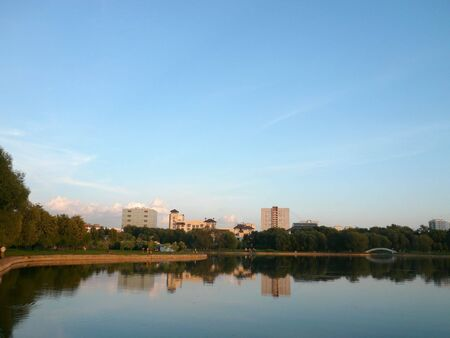 summer in city park at evening photo