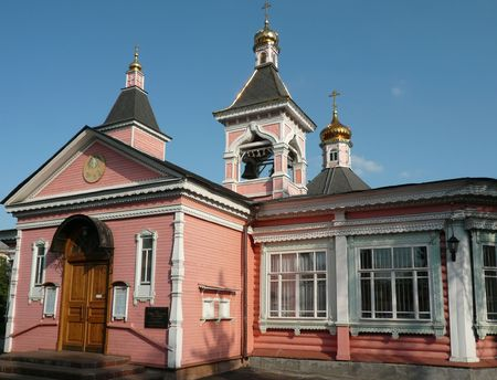 old wood temple bogorodskiy at day photo