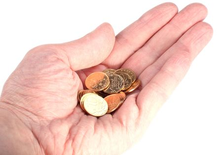 hand with copper coins on white background photo