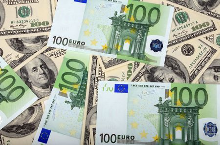 100 dollar and euro banknote photo