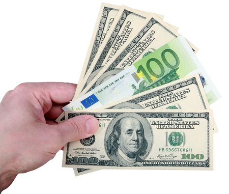 hand with dollar and euro on white background Stock Photo - 5741684
