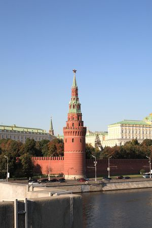 Moscow Kremlin tower,  quay and river  Stock Photo - 5960177