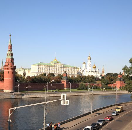 Moscow Kremlin tower,  quay and river Stock Photo - 5999758