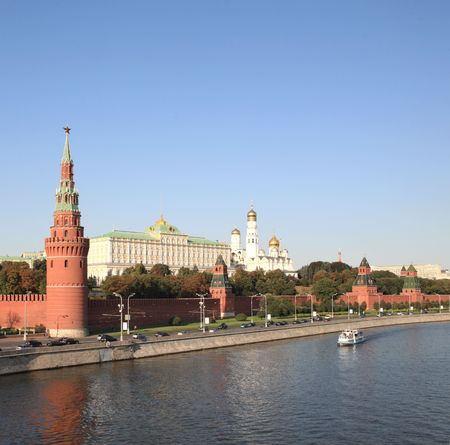 Moscow Kremlin tower,  quay and river Stock Photo - 5999757