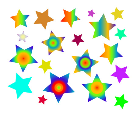 color five-point stars on white background