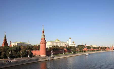 Moscow Kremlin tower,  quay and river  Stock Photo - 6016897