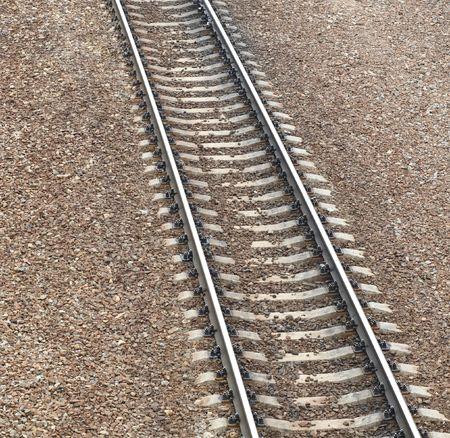 railway at day on gravel background Reklamní fotografie - 6129607