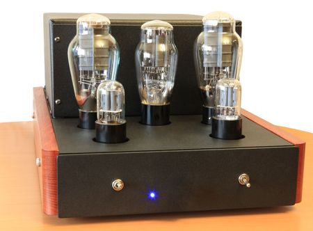 raiser: vacuum tube amplifier on 300B triodes Stock Photo