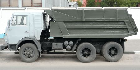 grey truck on asphalt road photo