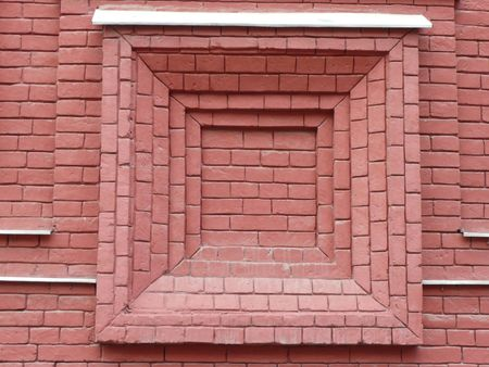 old red brick wall with window shape photo