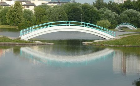 bridge over pond in city park   photo