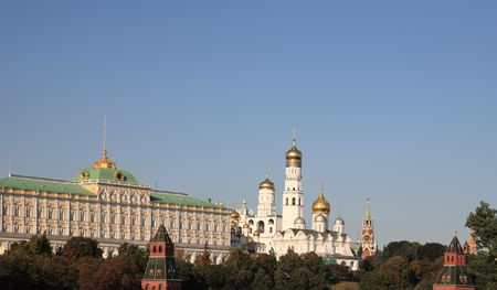 Moscow Kremlin tower,  quay and river Stock Photo - 6992124