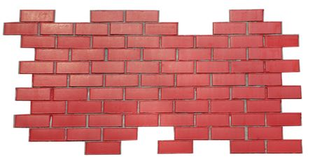 red brick wall isolated on white background photo