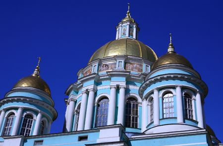 godly: old elohovskiy cathedral in moscow at day Stock Photo