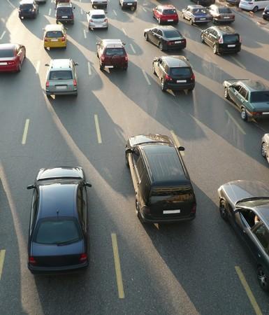 holdup: traffic on street repair at day