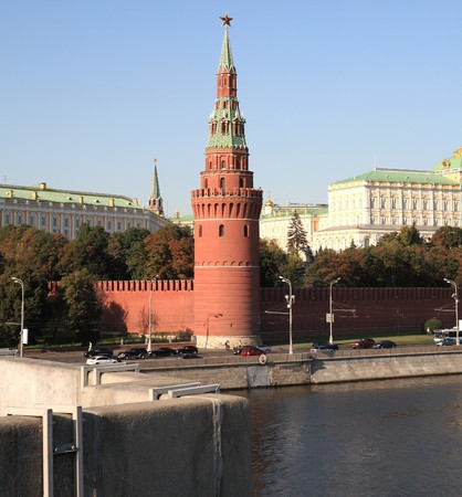 Moscow Kremlin tower,  quay and river Stock Photo - 7259355