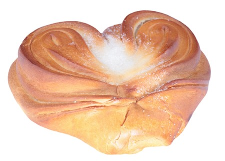 twist bun with heart shape on white  photo