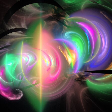 fractality: digital fractal on black background Stock Photo