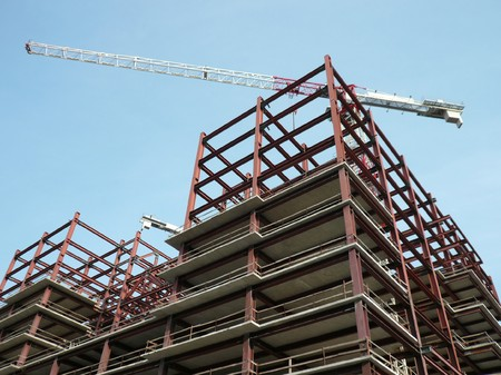house develop with crane at dry day photo