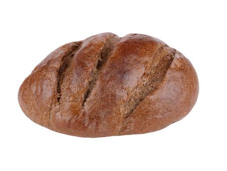 brownish: dark bread on white background Stock Photo