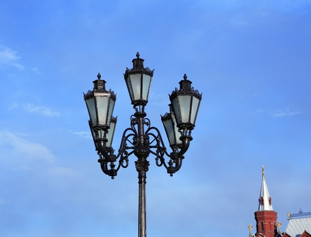 lantern and capstan on sky background photo