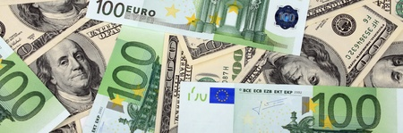 100 dollar and euro banknote Stock Photo - 8618498