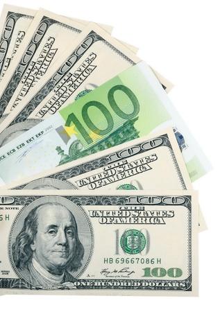 dollar and euro on white Stock Photo - 8708265