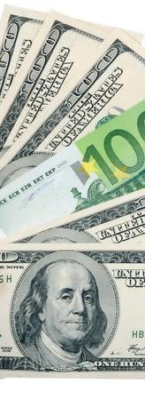 dollar and euro on white photo
