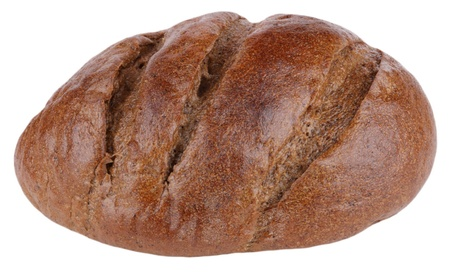 bestrew: dark bread on white background Stock Photo