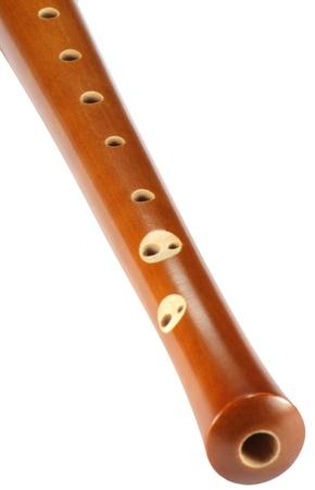 wood recorder isolated on white photo