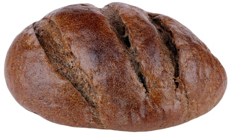 dark bread on white background Stock Photo - 9413488