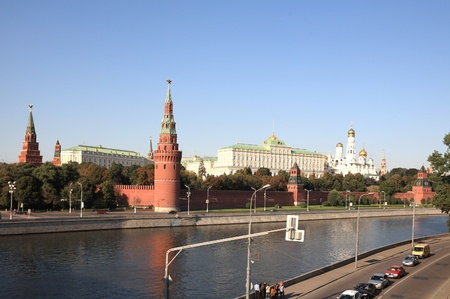 Moscow Kremlin tower,  quay and river  Stock Photo - 9531453