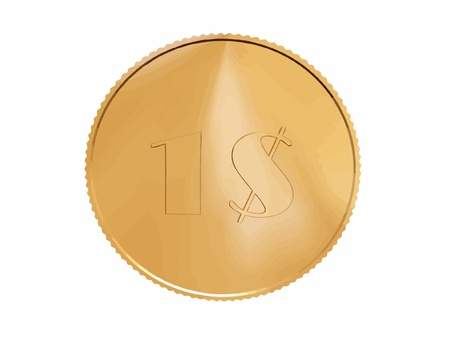 gold 1$ coin on white Vector