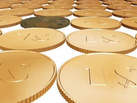 gold dollar coin carpet vector on white Stock Vector - 11189936