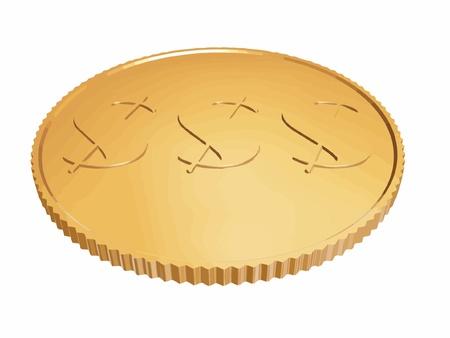 gold dollar coin vector on white Vector