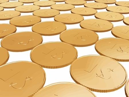 stratum: gold dollar coin carpet vector on white Illustration
