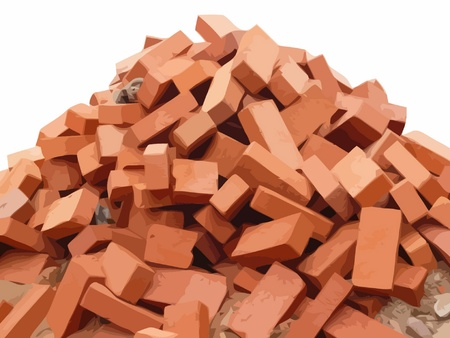 heap of red brick vector Vector