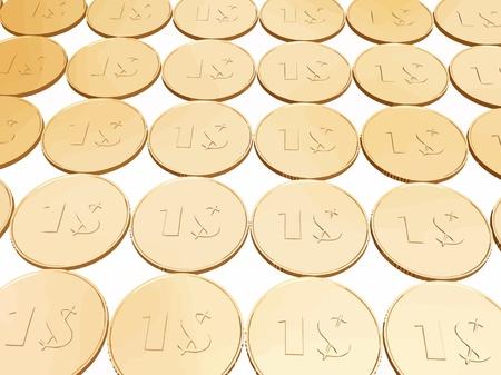 gold dollar coin carpet vector on white Illustration