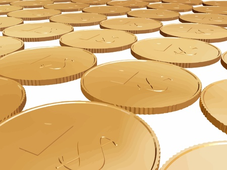 gold dollar coin carpet vector on white Vector