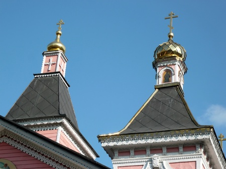 old wood temple bogorodskiy at sunny day photo