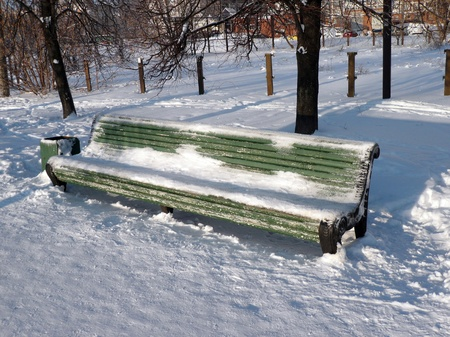 bench at winter sunny day photo