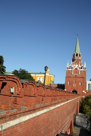 Kremlin tower on sky background at dry sunny day photo