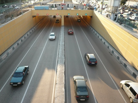 road tunnel under bridge photo